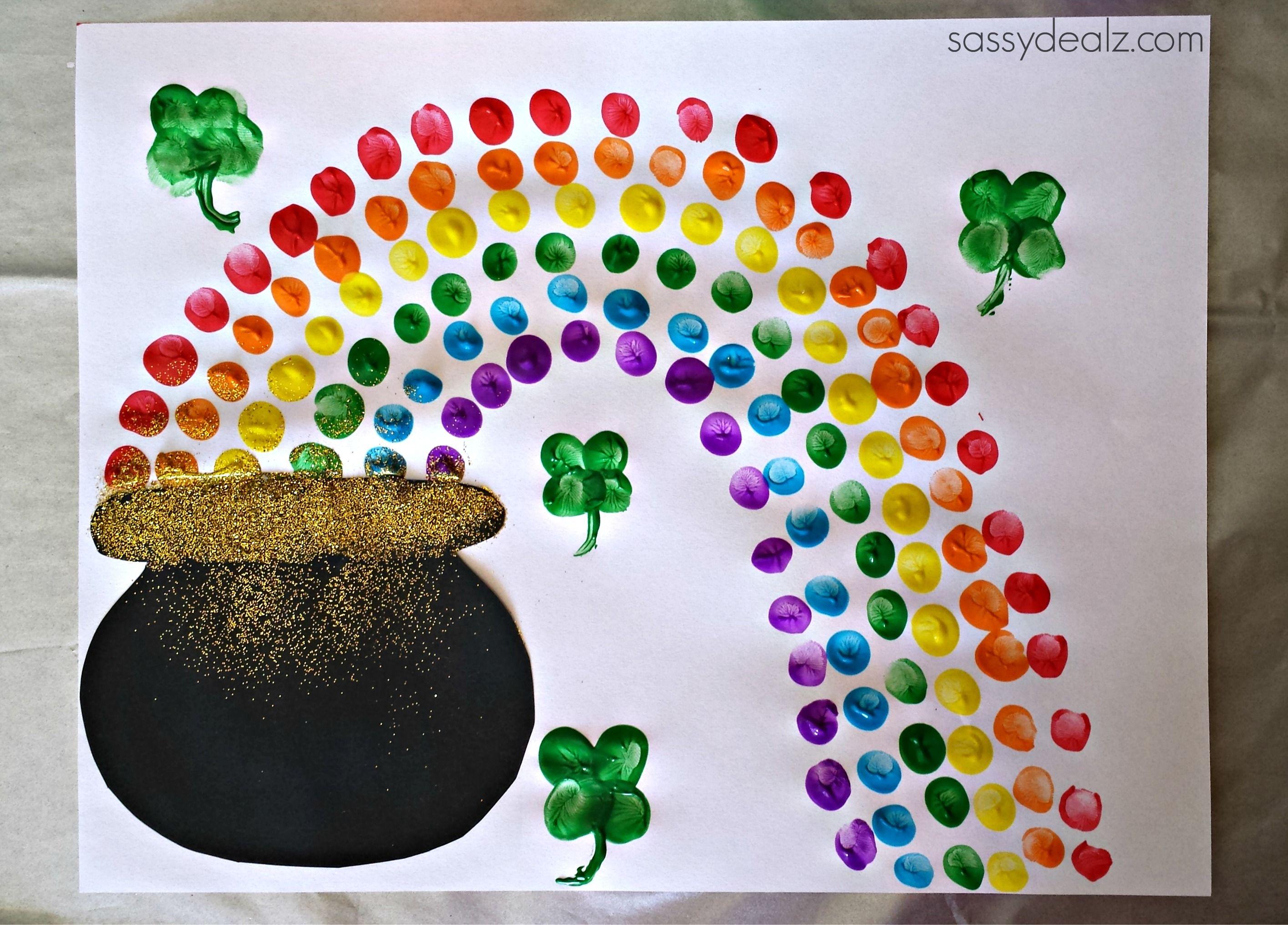 Fingerprint Rainbow Pot Of Gold Craft For St Patrick S