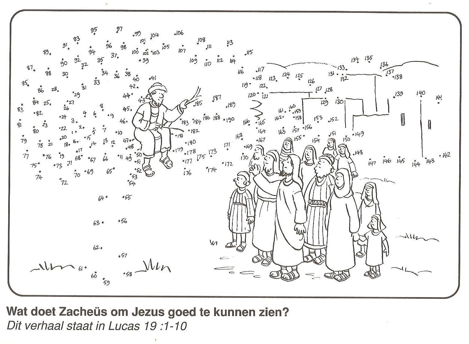 Zacheus In De Boom Om Jezus Goed Te Kunnen Zien Van Stip Naar Stip