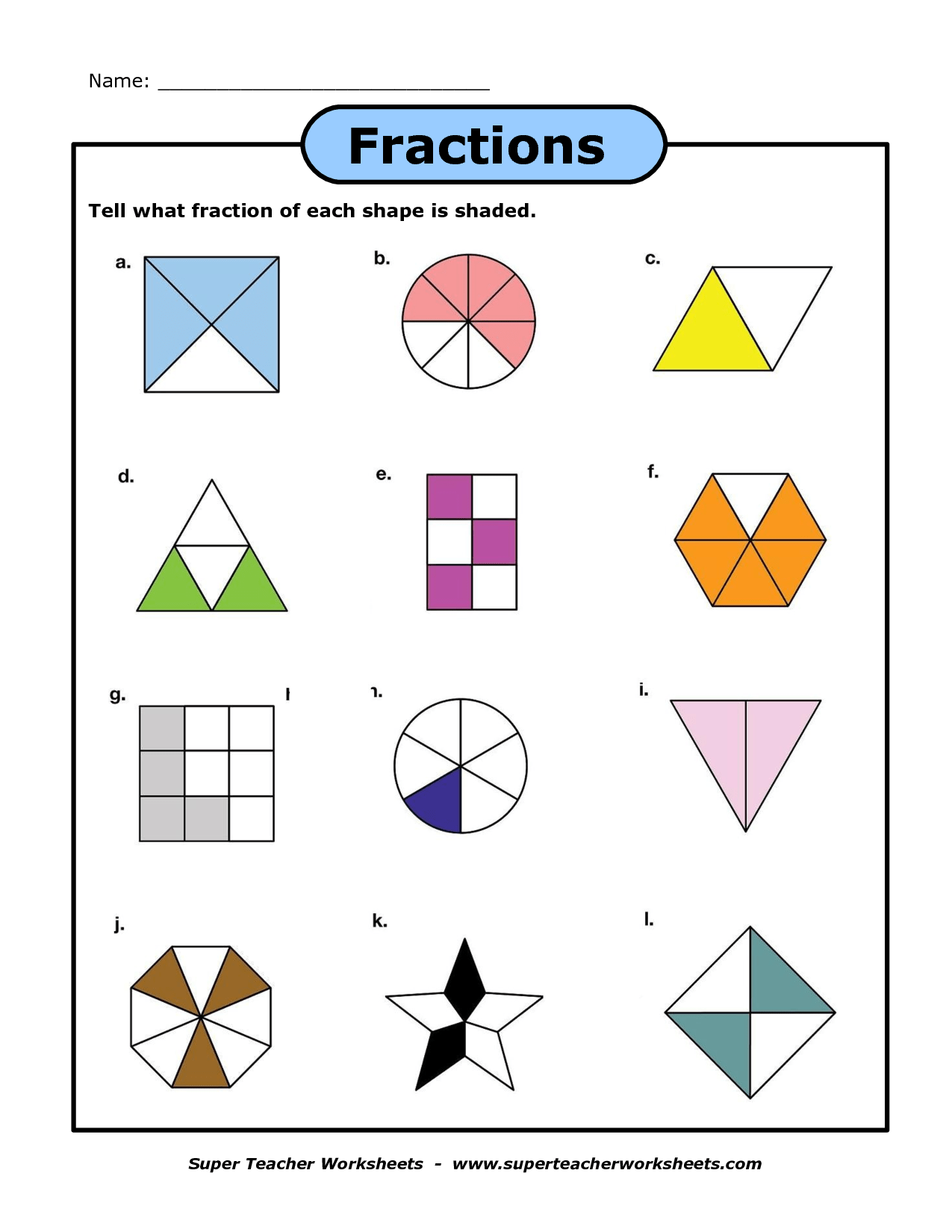 Shapes As Fractions Worksheet