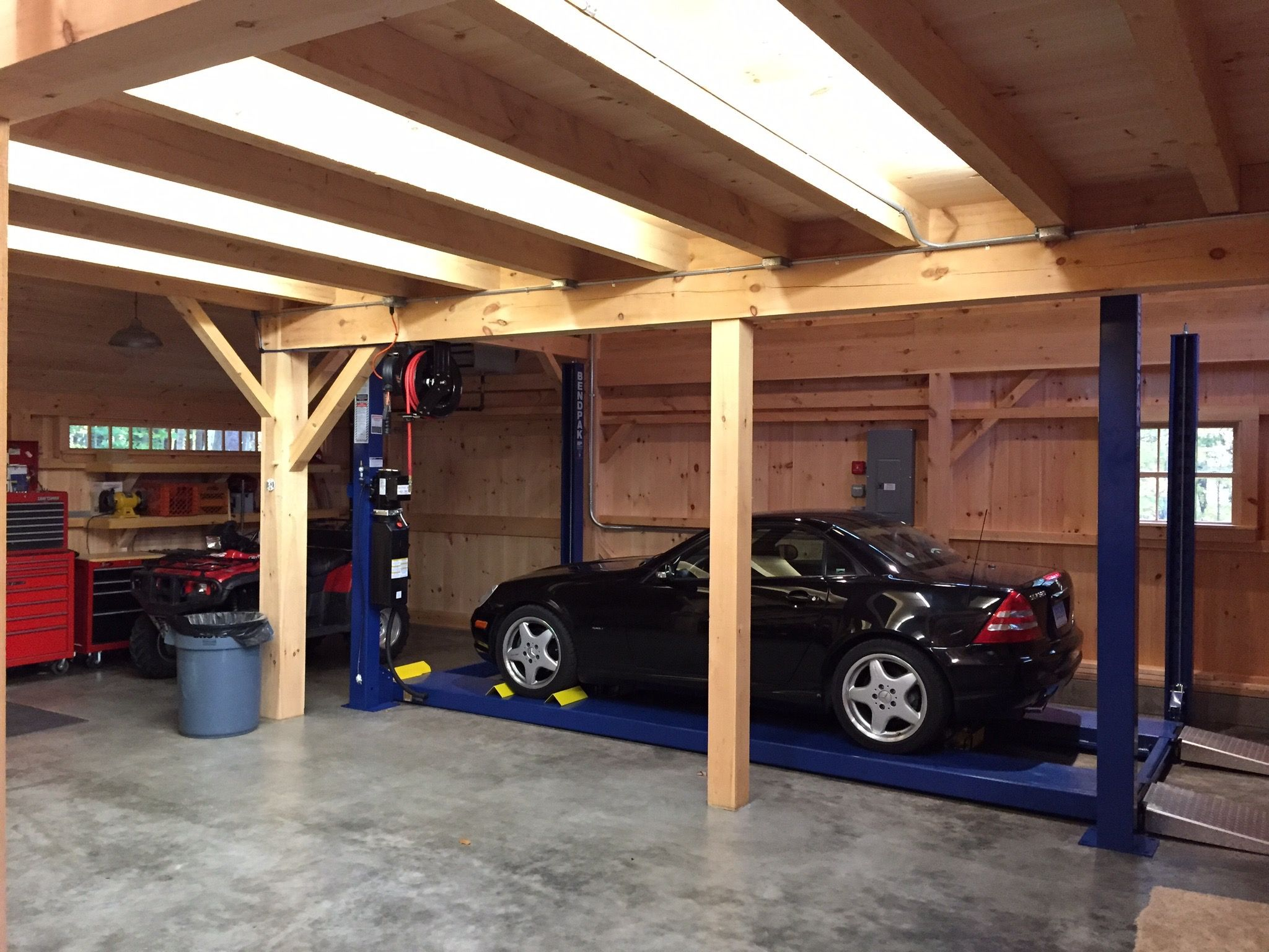 Car Lift Bay In Our 1-1/2 Story Barn; Open To Roof Above