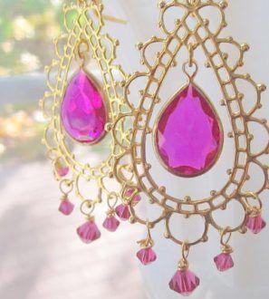 Hot Pink Chandelier Earrings Minou Bazaar Collectivitea