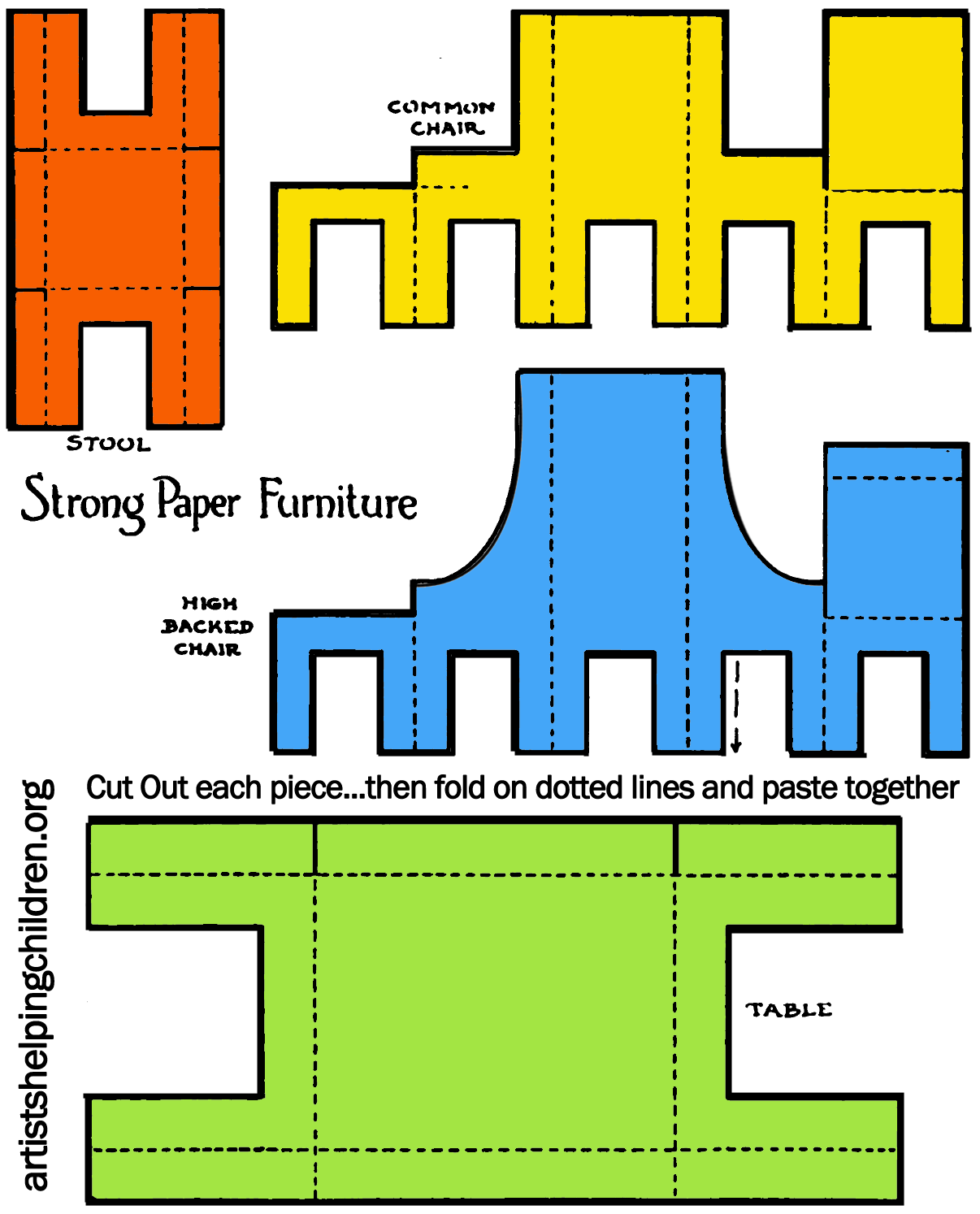 Printable Template All Furniture Colorized 285x175 Step How To Make A Paper Doll House Table
