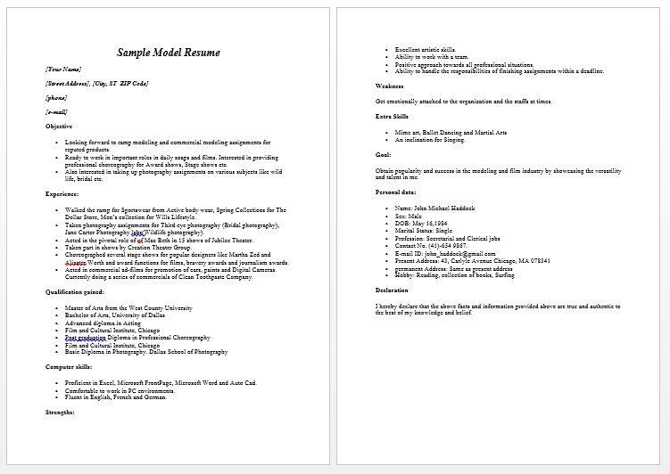 Superb Modeling Resume Sample Free We  Model Resume Sample