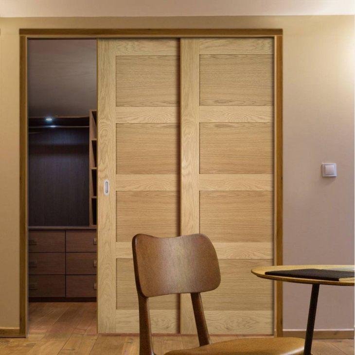 Deanta Twin Telescopic Pocket Coventry Shaker Style Oak Veneer Doors