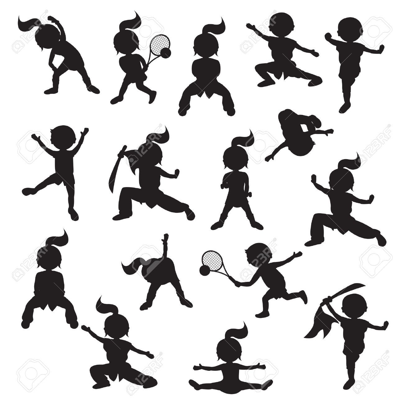 Silhouettes Of Children Goes In For Sports Stock