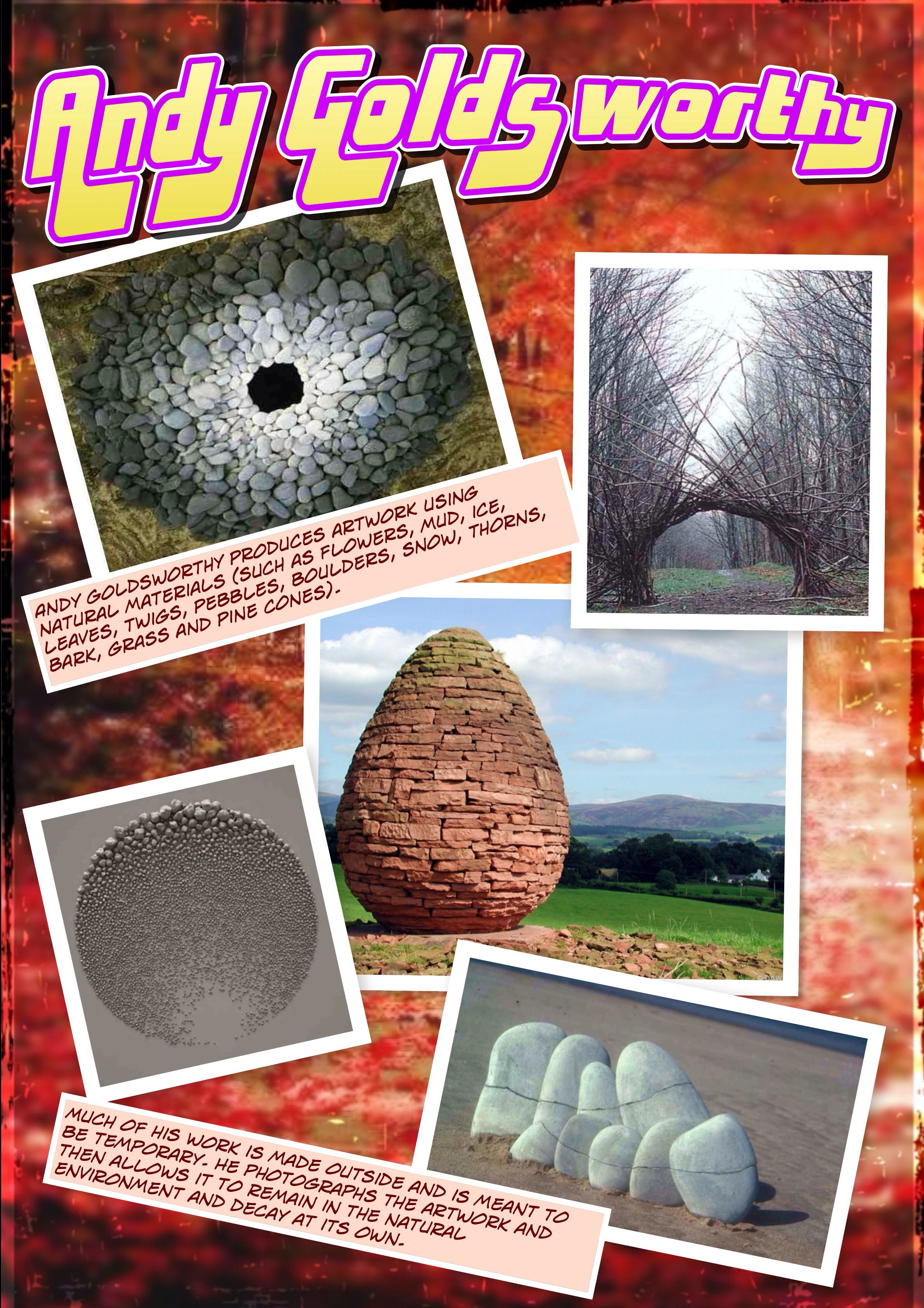 Andy Goldsworthy Artist Info Poster