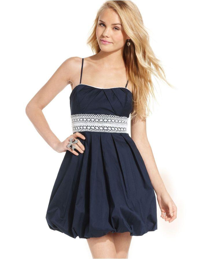 Speechless Juniors Dress SpaghettiStrap Striped Bubble Skirt