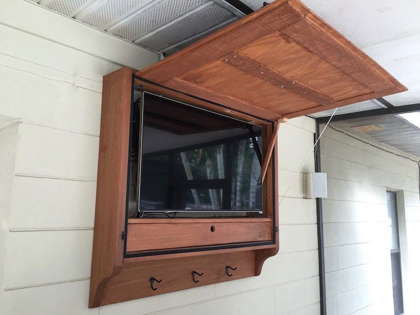 here are our plans for an outdoor tv cabinet we built for our outdoor bar it allows us to hang on outdoor kitchen tv id=40000