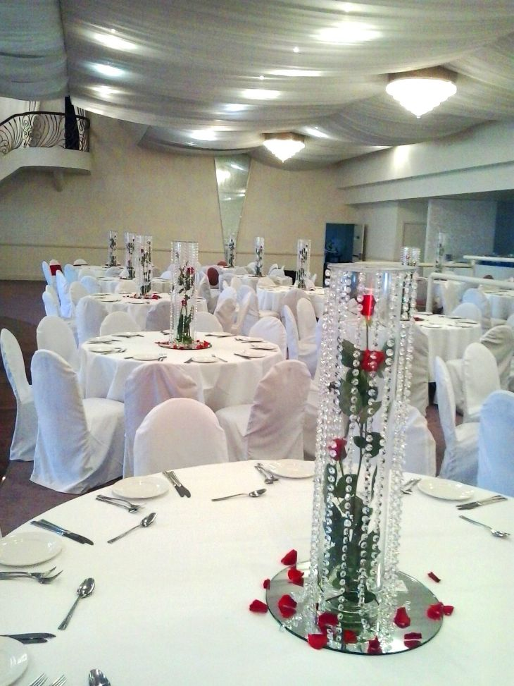 Red Rose arrangements for the reception  Wedding Bouquets  Flowers