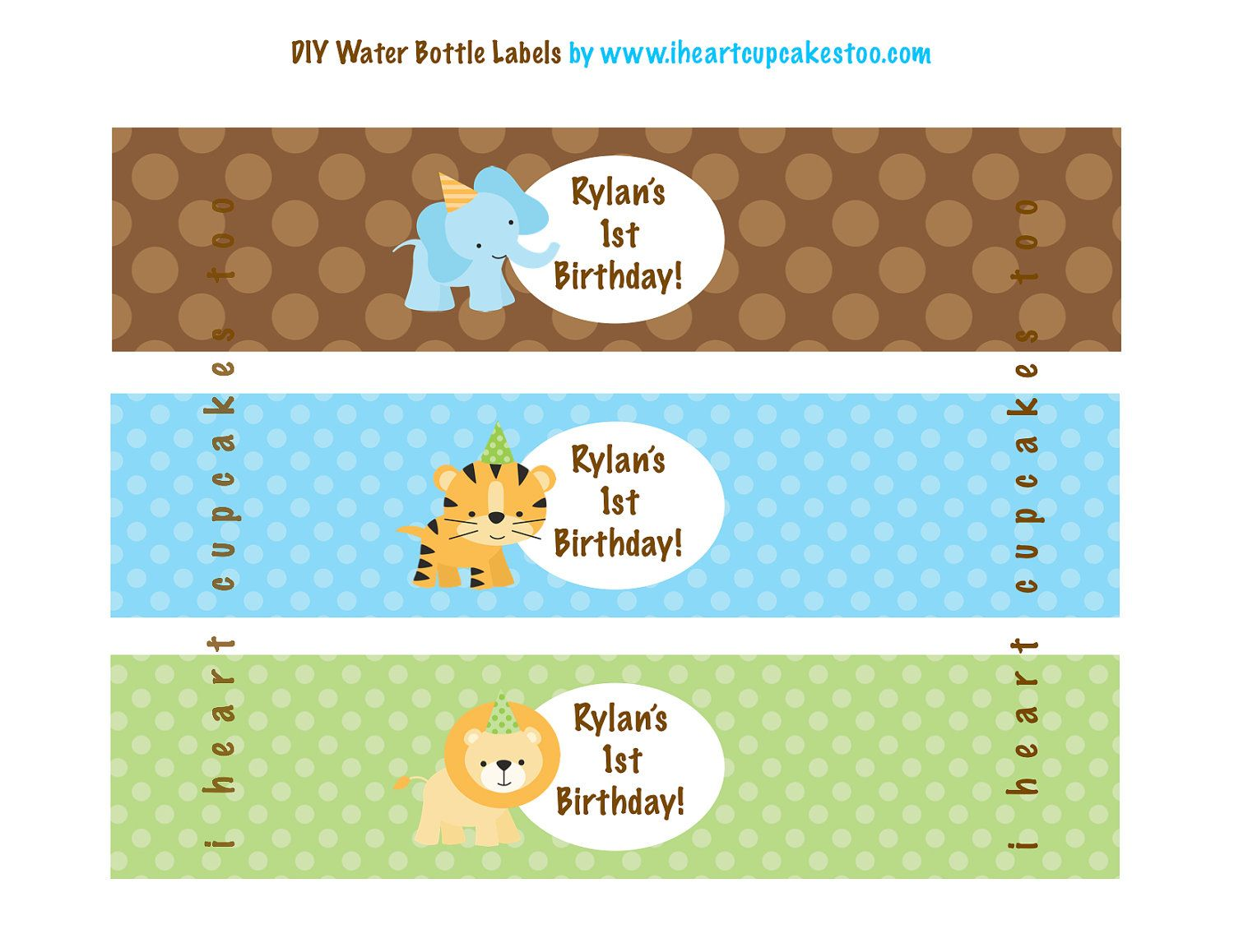 Printable Jungle Safari Water Bottle Labels 3 00 Via Etsy