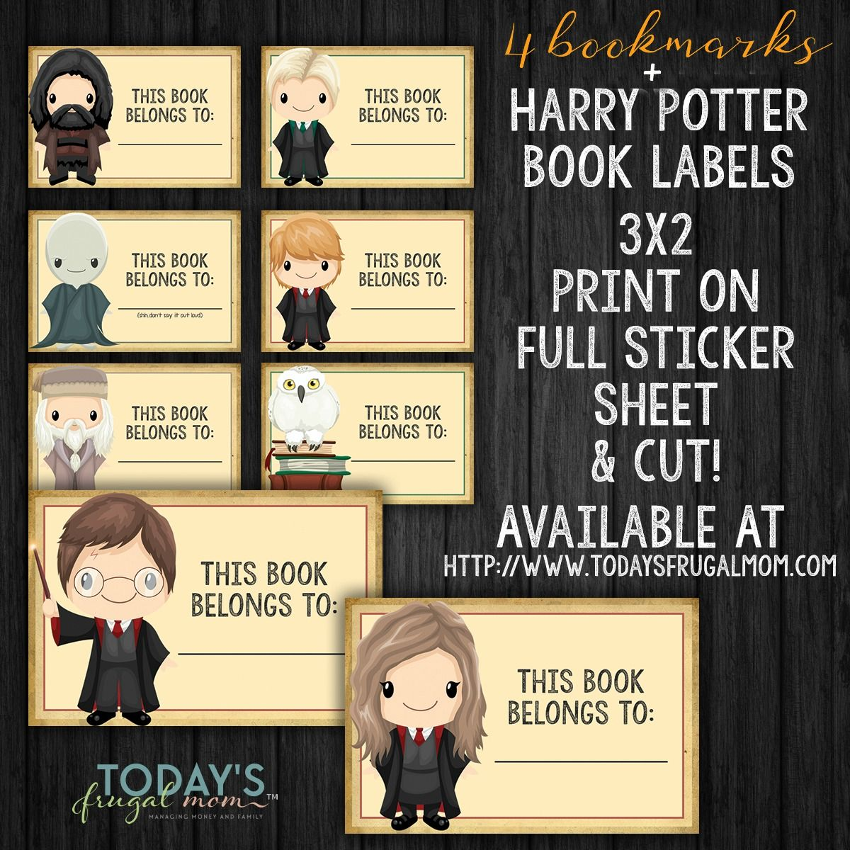 Printable Harry Potter Bookmarks Book Labels