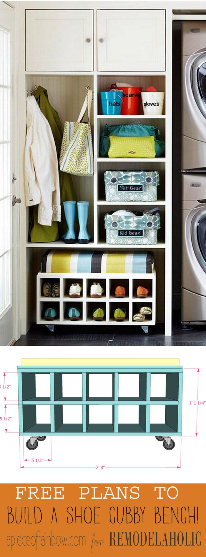 Build A Rolling Shoe Cubby Bench Remodelaholic Shoe storage