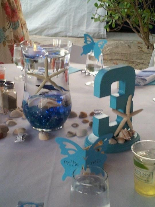 Centerpiece Has Blue Submergible Lights Floating Tea
