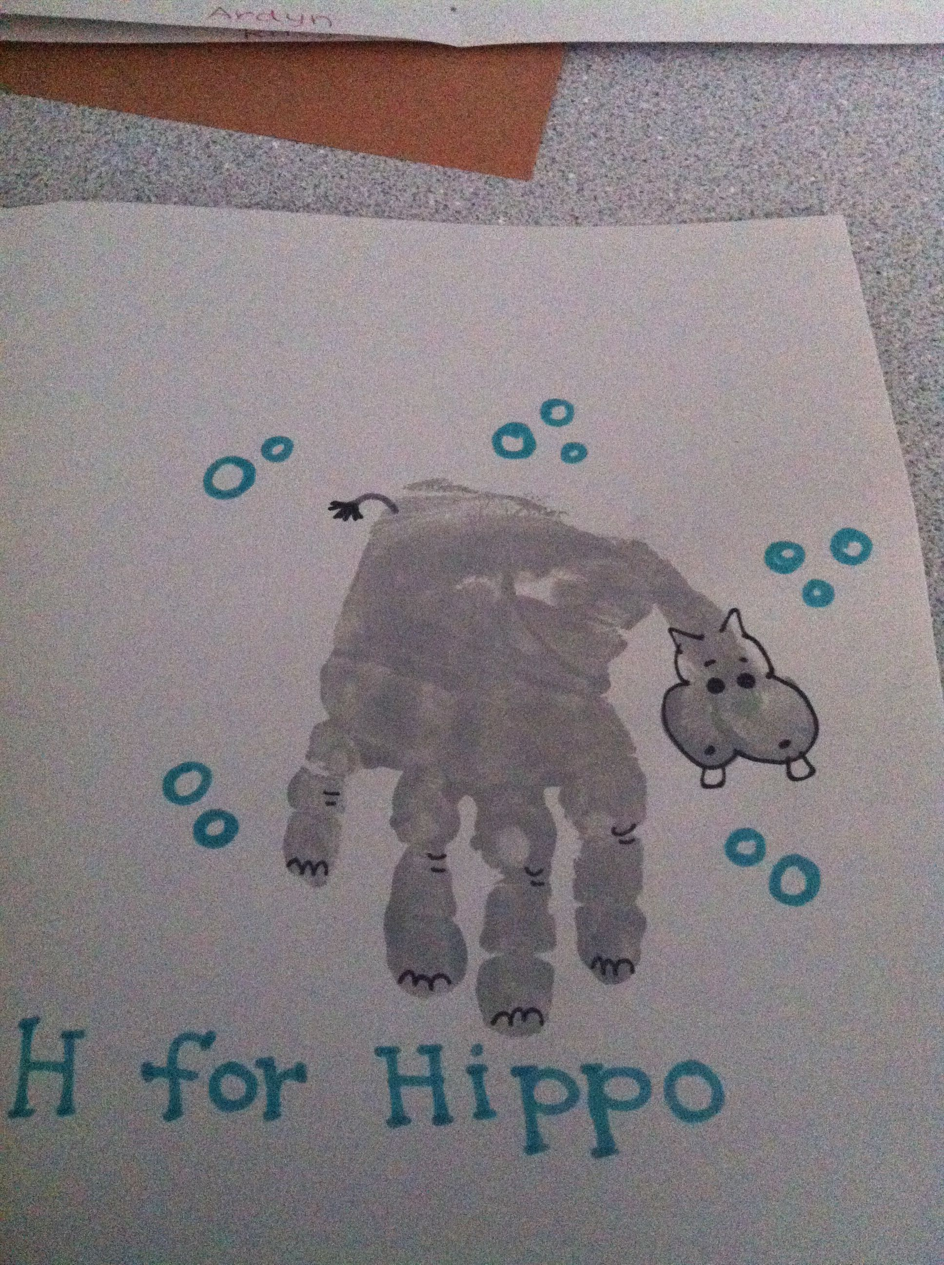 H Is For Hippo Handprint