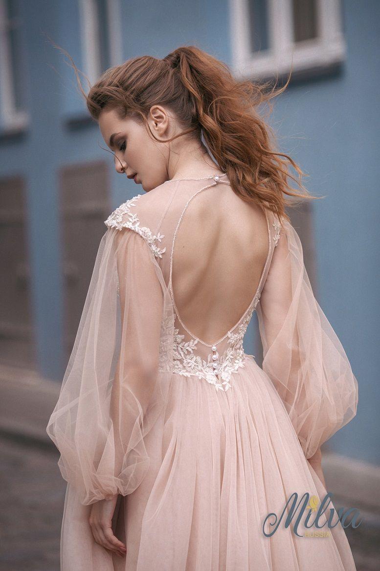 V neckline Cap sleeves with detachable puff long sleeves key hole back embellishment bodice a line wedding gown milva #weddingdress #weddingdresses #wedding #weddinggown