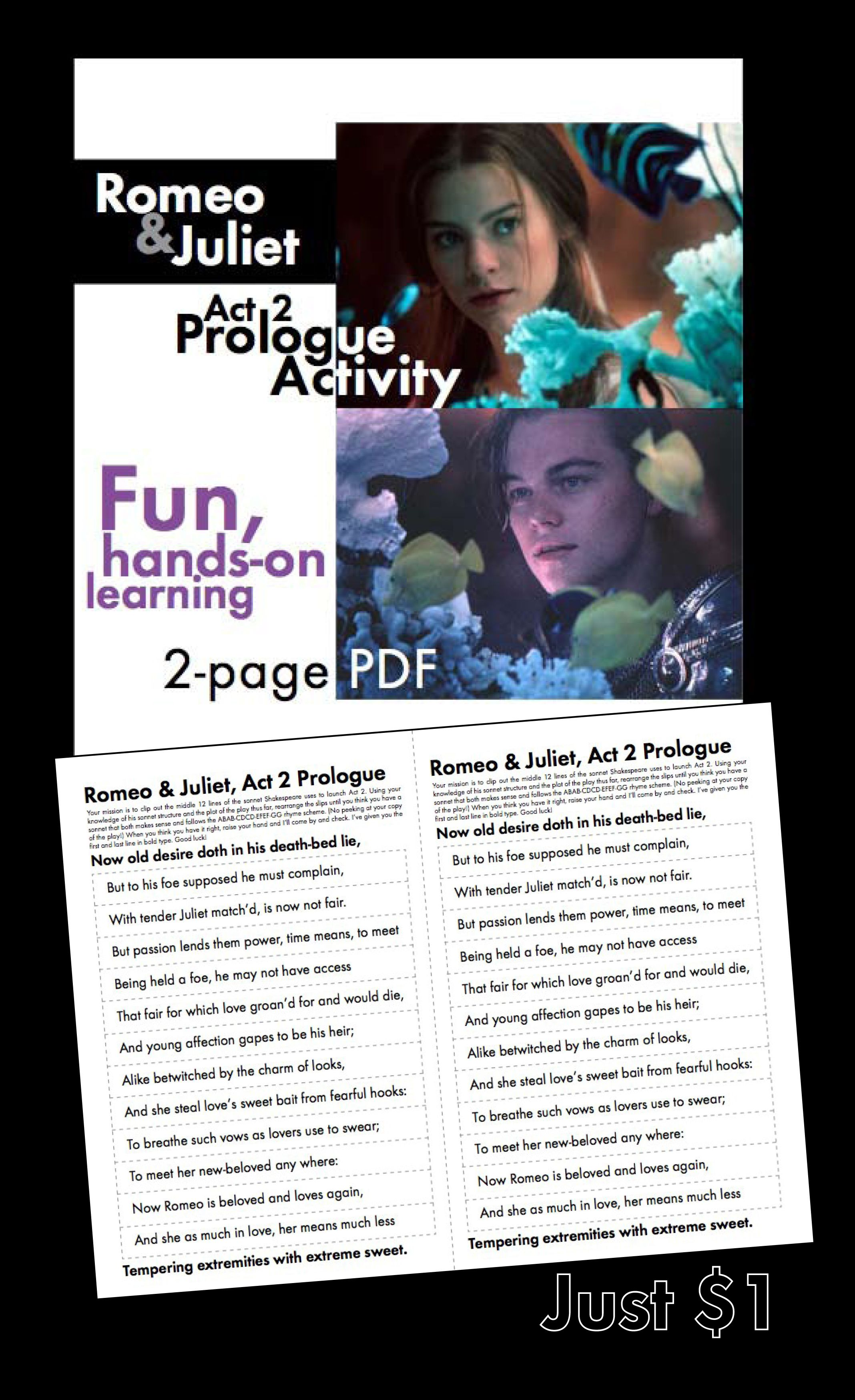Romeo And Juliet Act 2 Prologue Fun Hands On Activity With Shakespeare S Play