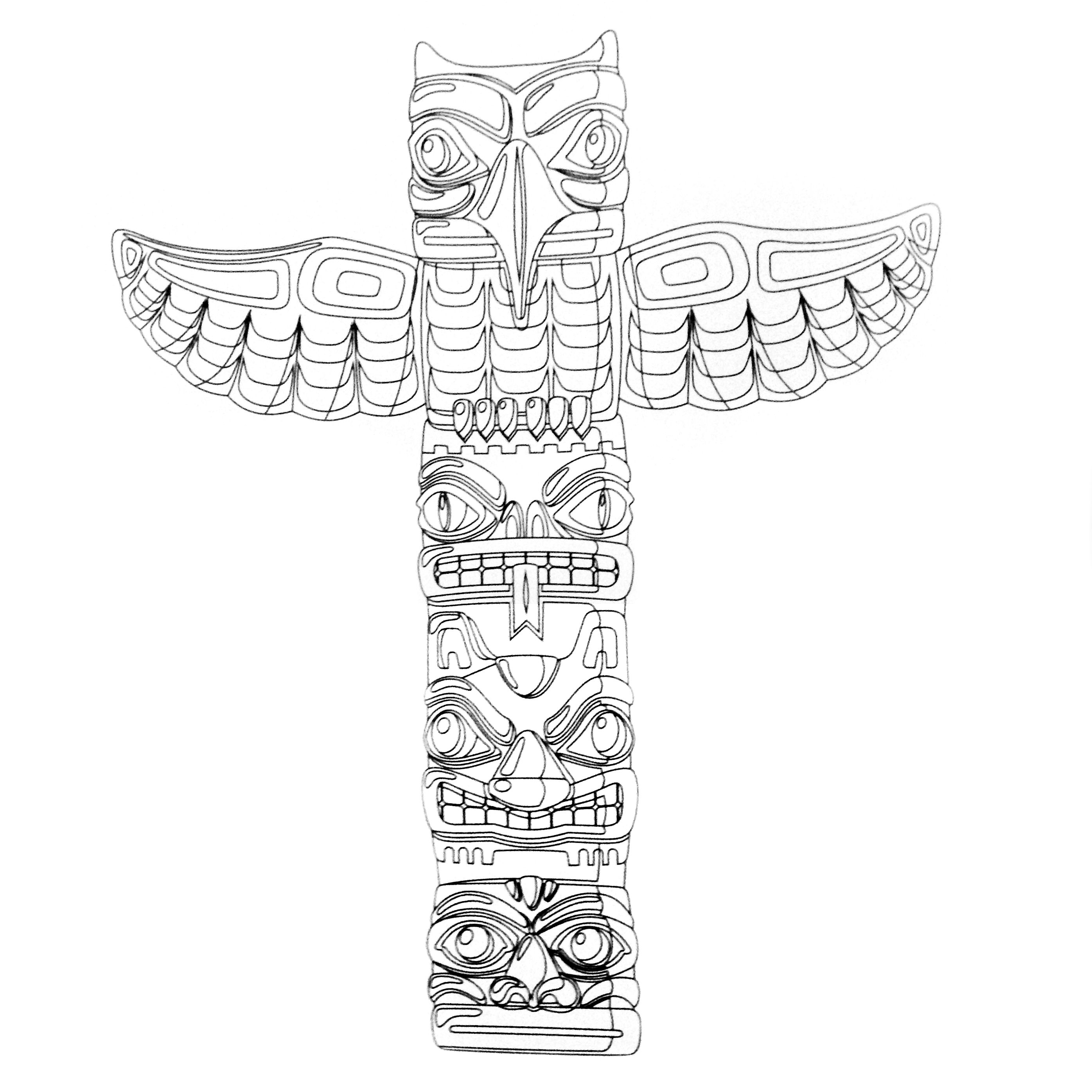 Alaska Totem Pole Pages Coloring Pages