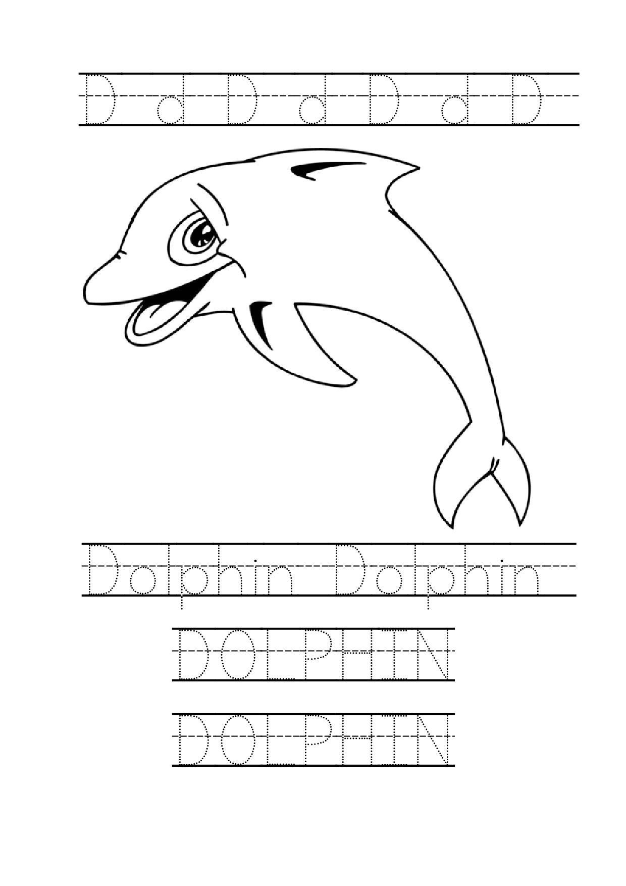 Tracing Word Dolphin Worksheet Dolphin Coloring Page For Preschool