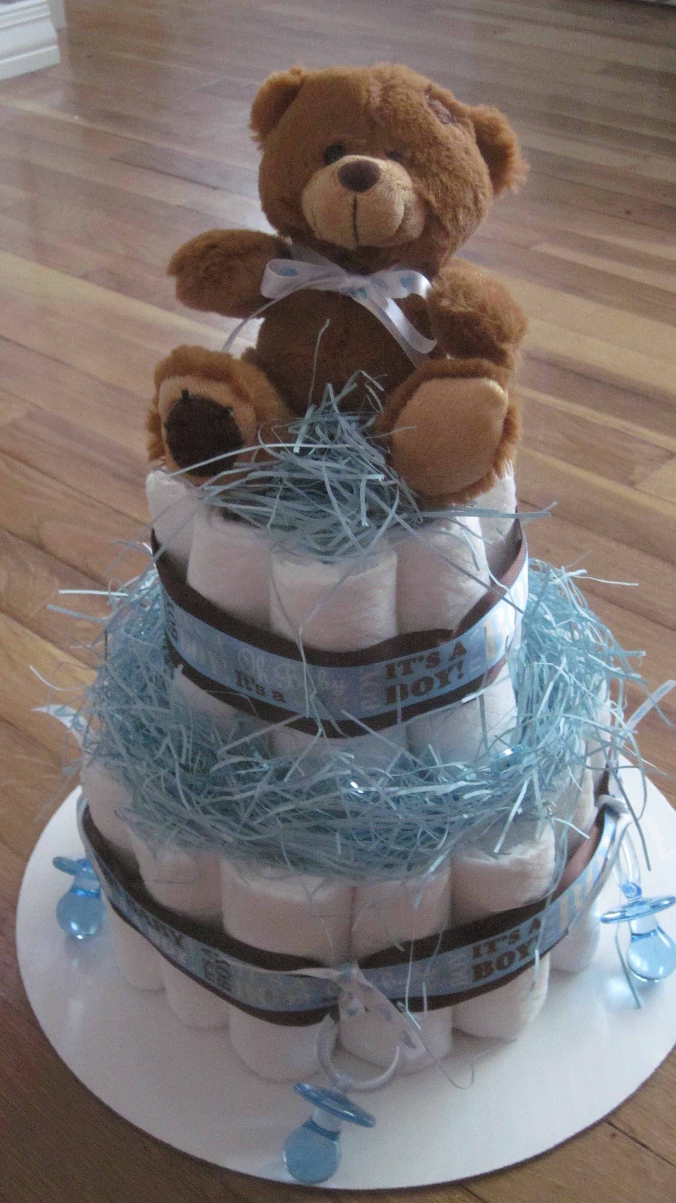 Teddy Bear Diaper Cake Made By My Mother As A Centerpiece