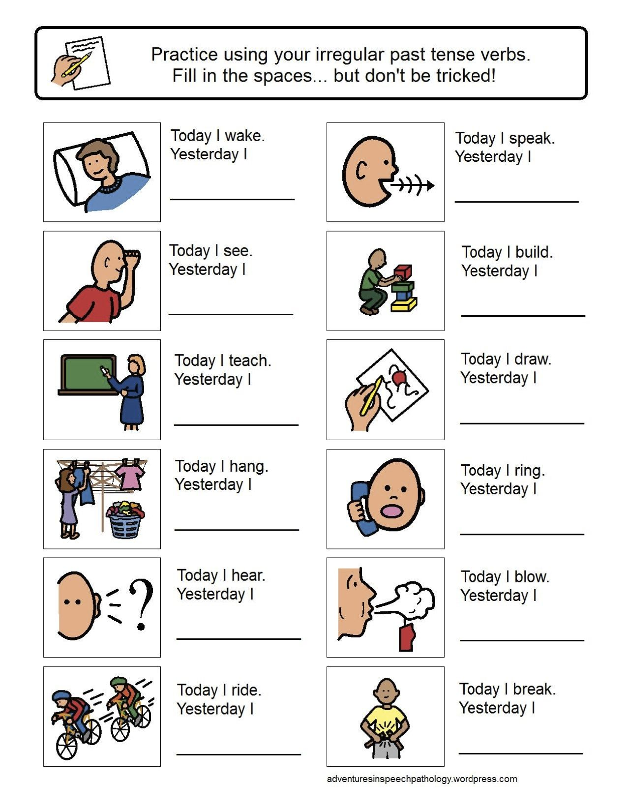 Today I Yesterday I Worksheets For Working On Irregular Past Tense Verbs Consultez Aussi