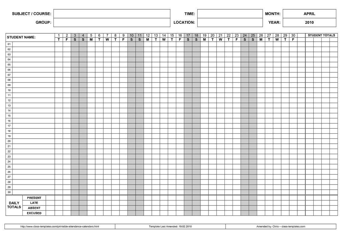 Printable Employee Attendance Calendar 3