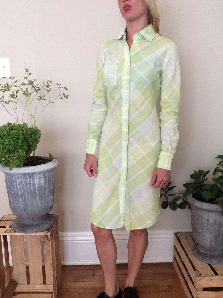 Lime green plaid shirt style dress by Donovanshop on Etsy  My shop