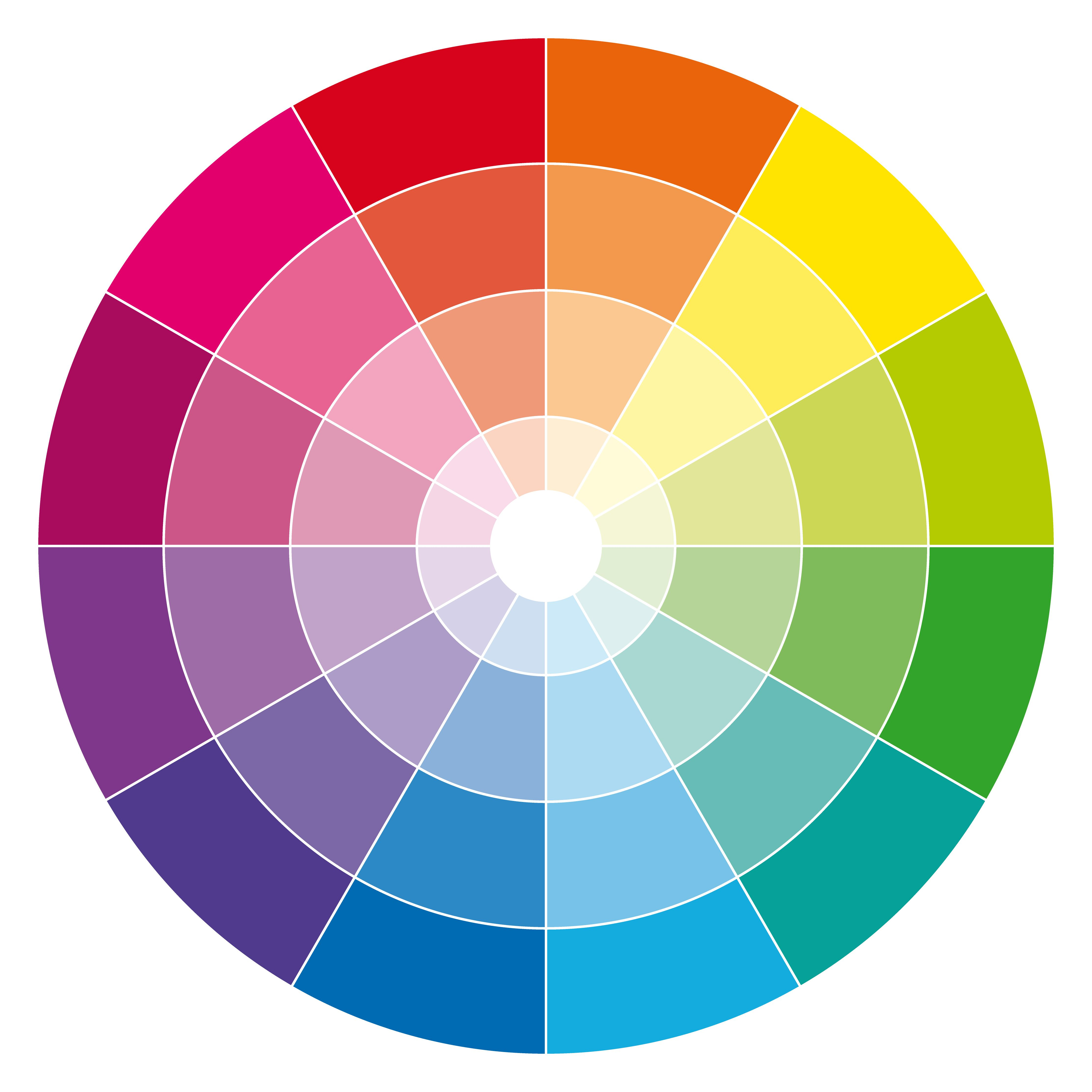 12 Hour Rgb Cmyk Color Wheel With Tones And Tints