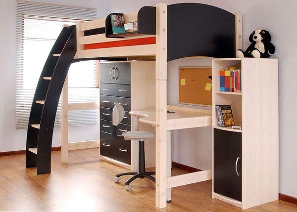 Bedroom Modern Full Size Loft Bed For Kids Picture Timber Floor Varnished Good Brown Color