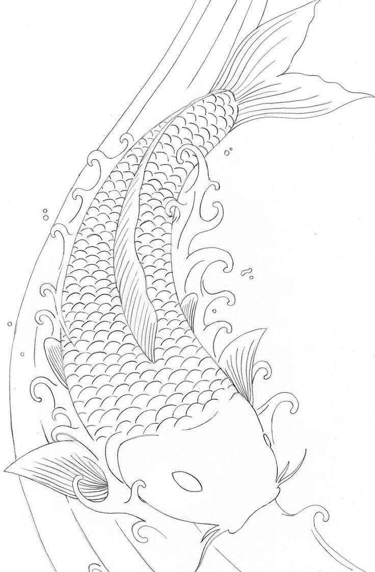 Koi Fish Coloring Pages Free … Pinteres…