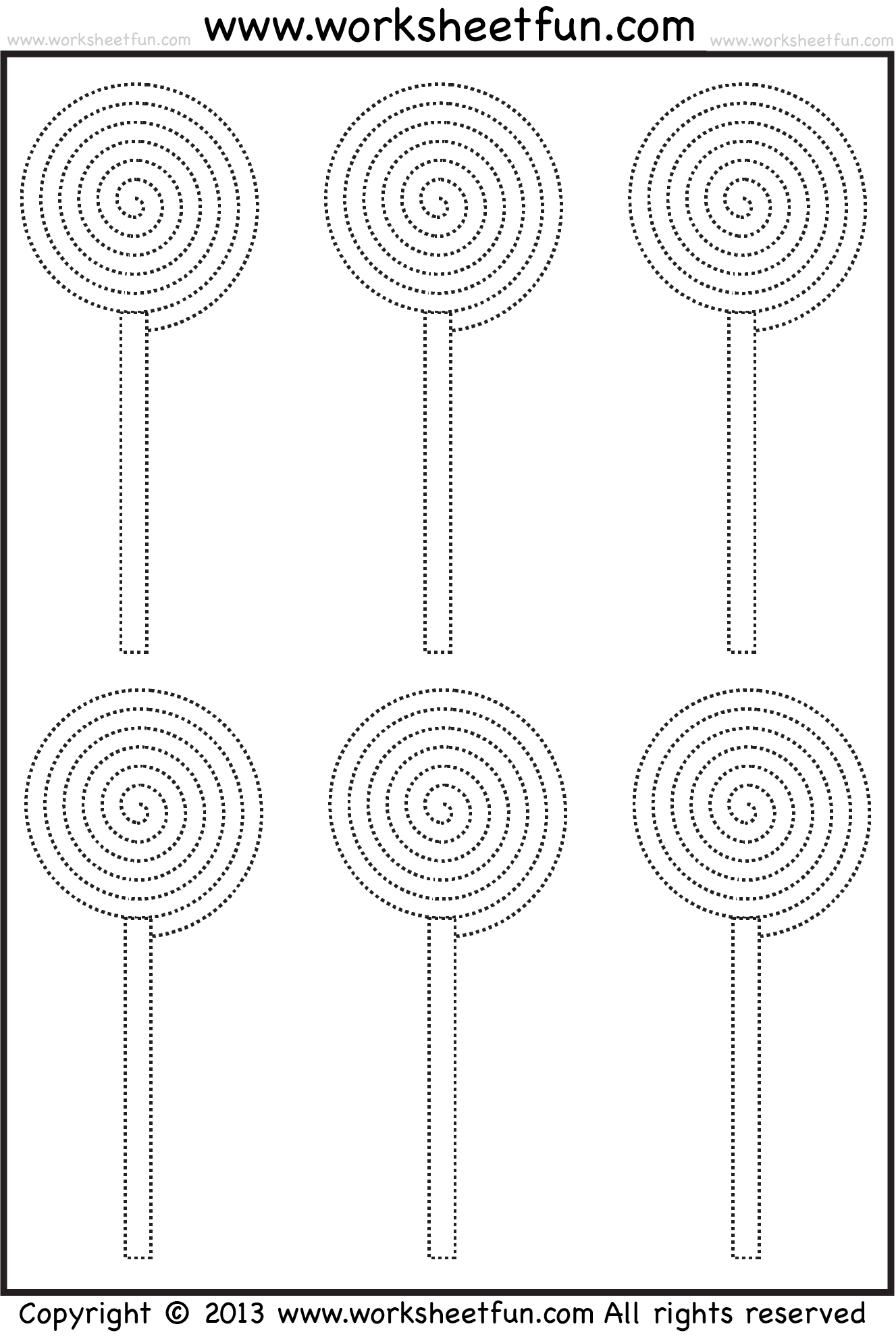 Small Lollipops Tracing Worksheet