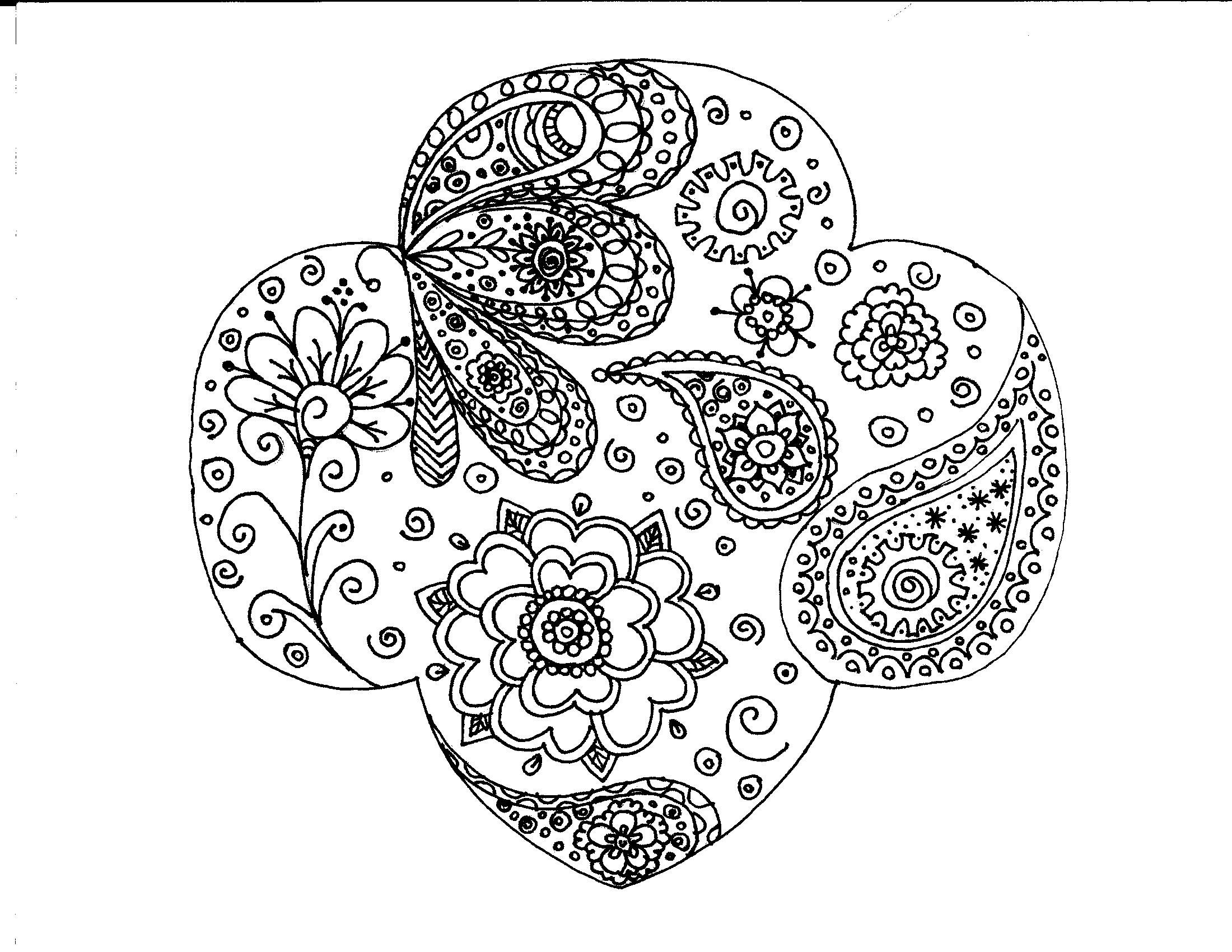 Girl Scout Trefoil Paisley Coloring Page
