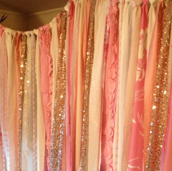 Rose Gold Sequin With Party Popn Pink Amp Ivory Backdrop Garland Bling Sparkle Baby Shower