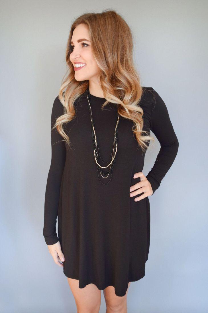 Fireside Long Sleeve Tee Shirt Dress Black Long sleeve tee shirts