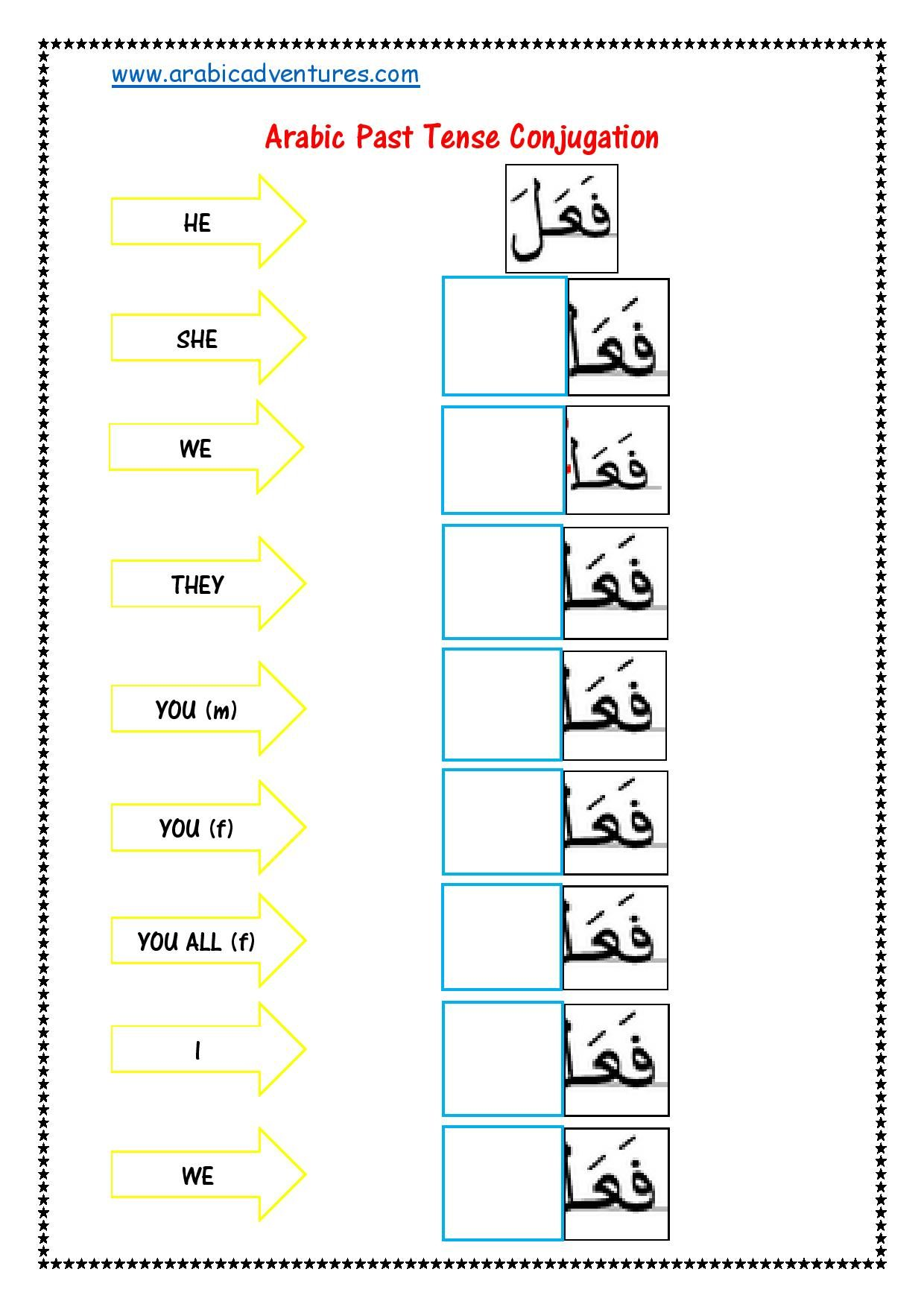 Arabic Past Tense Fill In The Blank Laminate And Use With