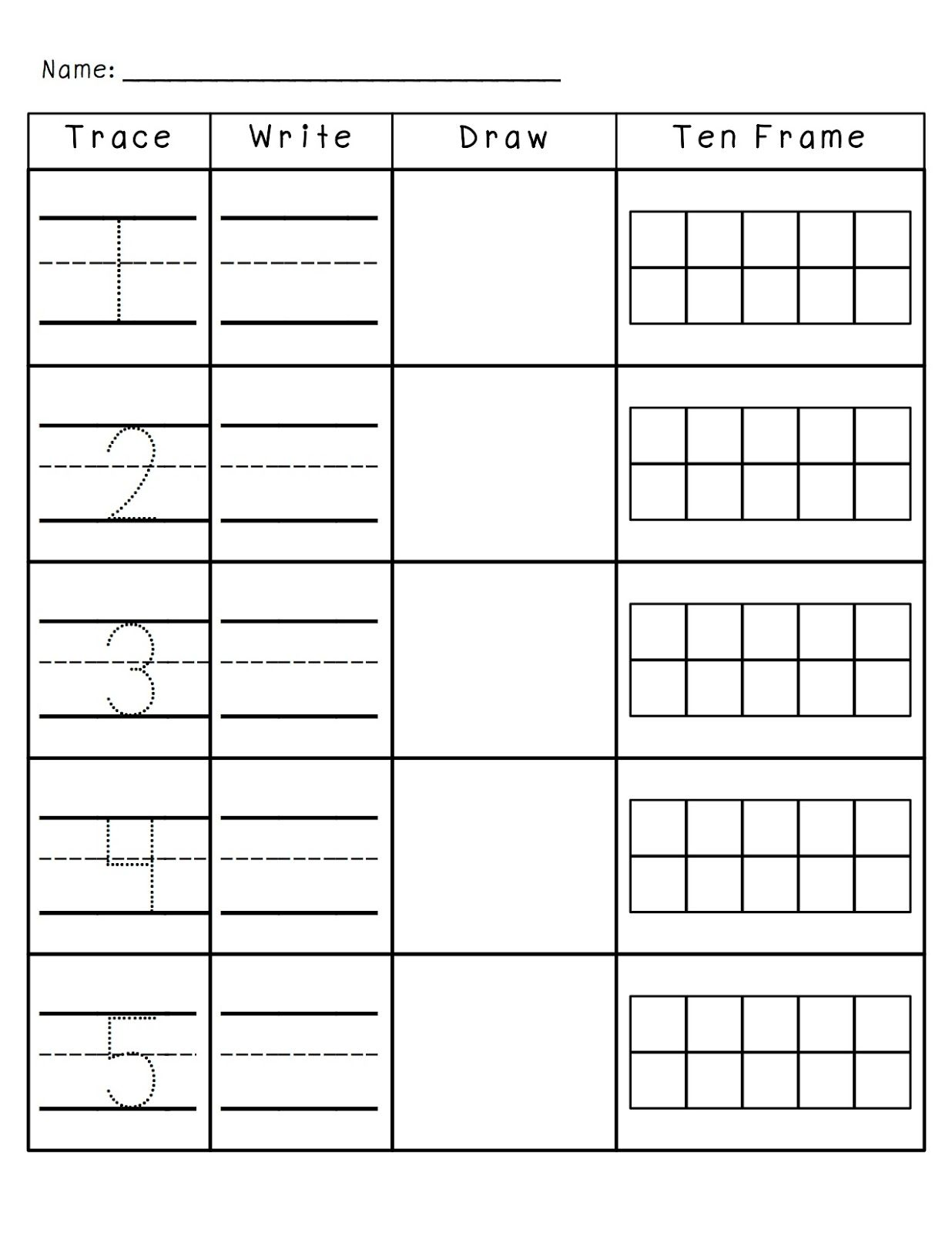Number Practice 1 10 Trace Write Draw Fill In Ten Frame Plus A Ton More Number Activities