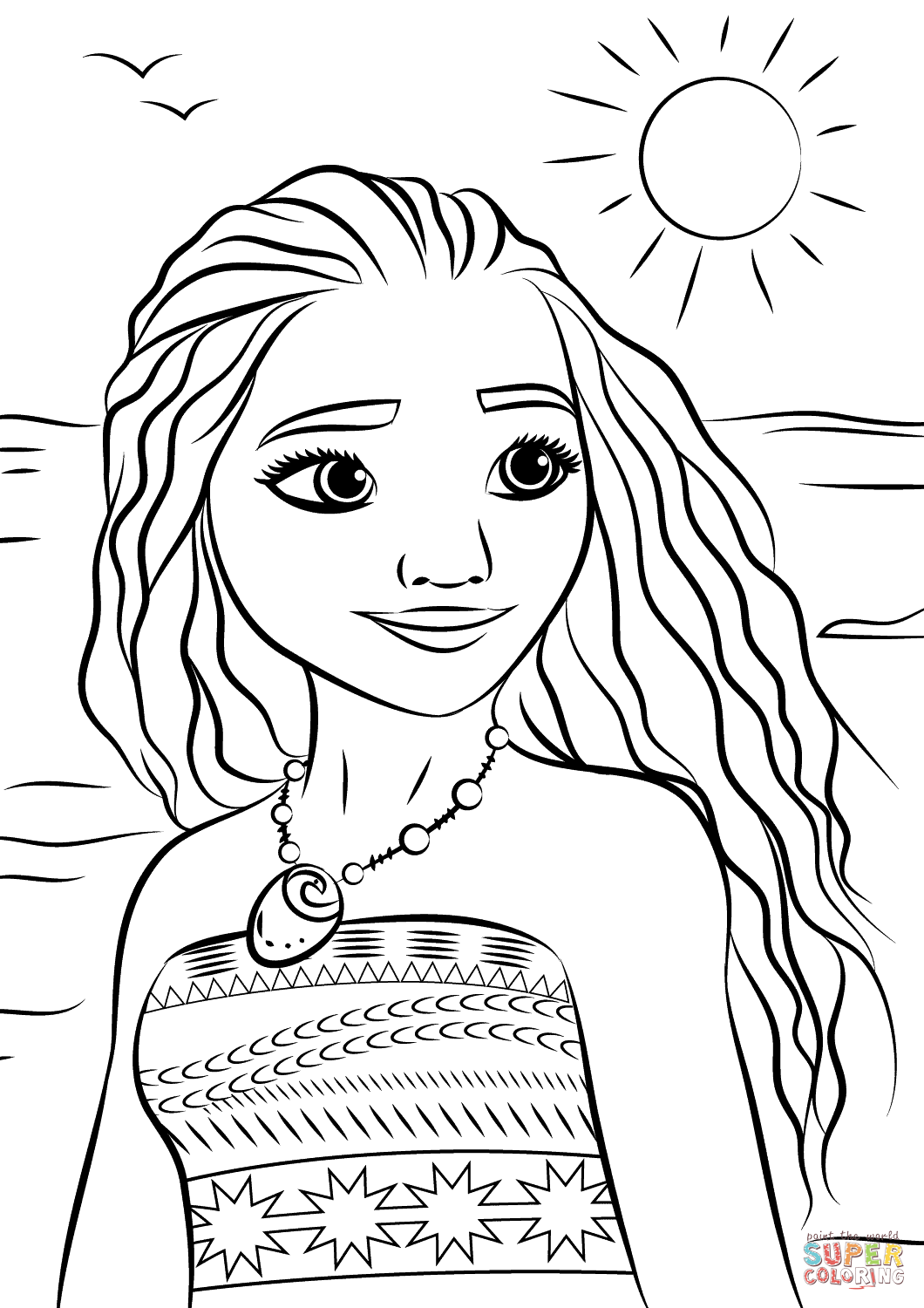 Princess Moana Portrait Coloring Page