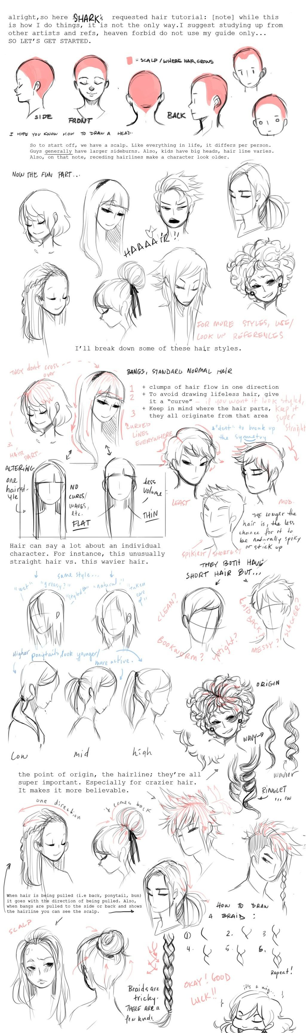 How to sketch hair Drawing Pinterest