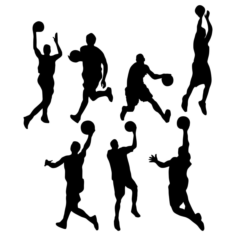 Pin Basketball Silhouettes Vector Stock Bigstock