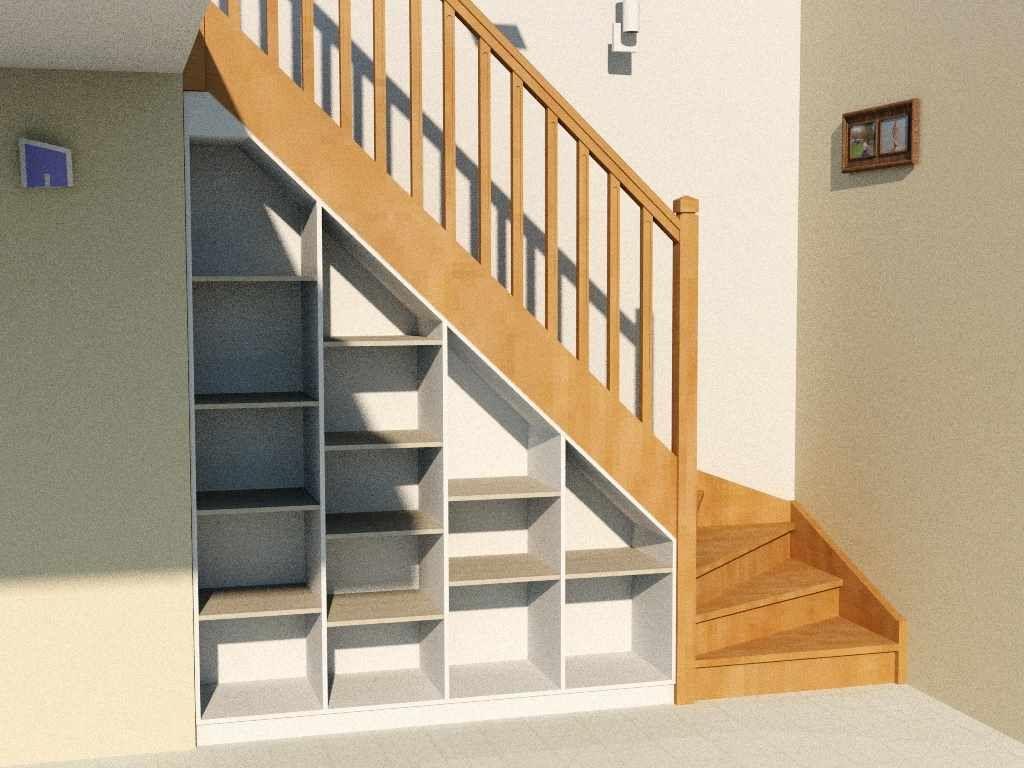 Etagre Sous Escalier Complte Avec Socle Dessus Et Fond