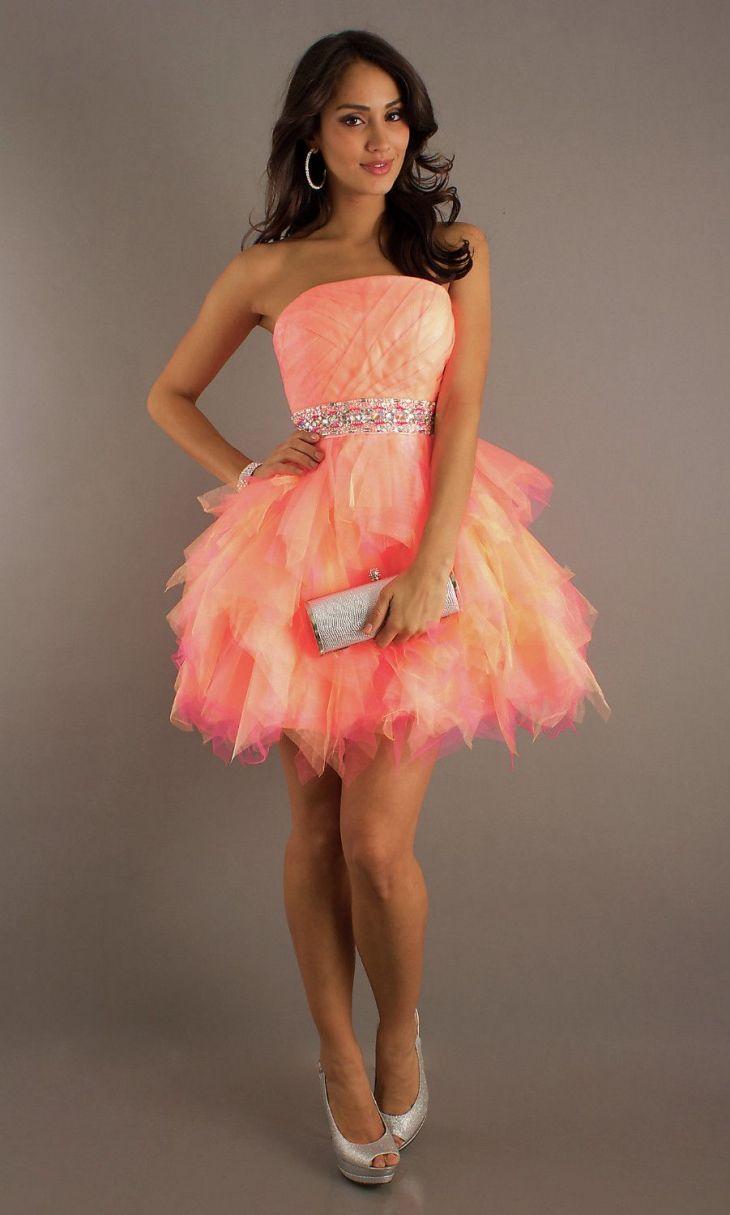 Hot Strapless Cute Cheap Orange Pink Short Mini Beads Tulle