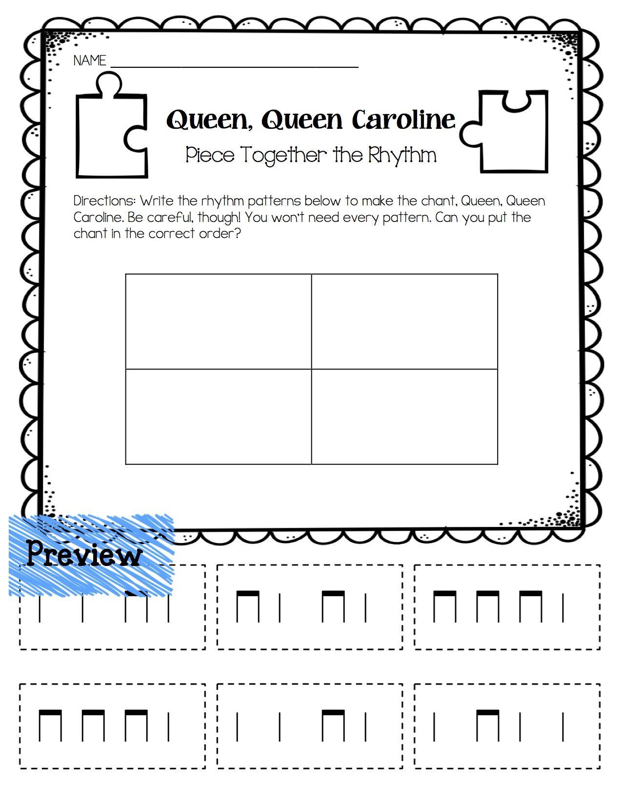Queen Queen Caroline Piece Together The Rhythm Worksheet
