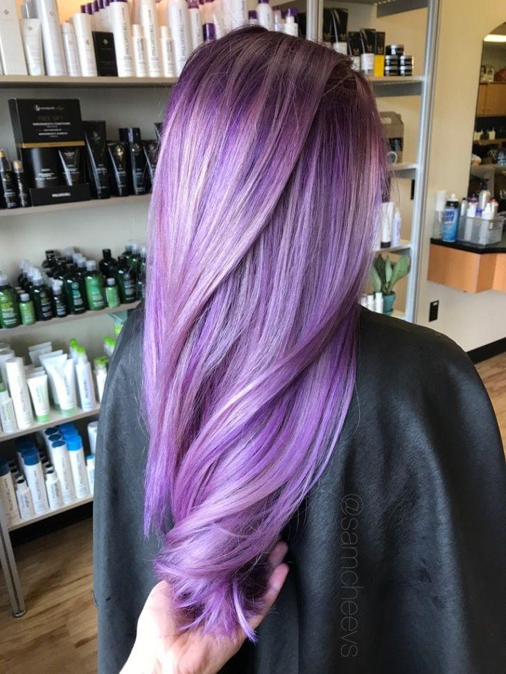 Purple ombré Deep plum eggplant purple vibrant pale violet balayage
