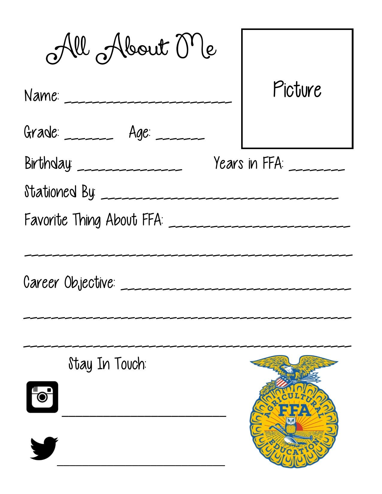 All About Me Sheet For Ffa Officers To Put In Classrooms
