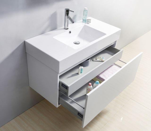 "39"" Glossy White Modern Floating Single Sink Bathroom Vanity"
