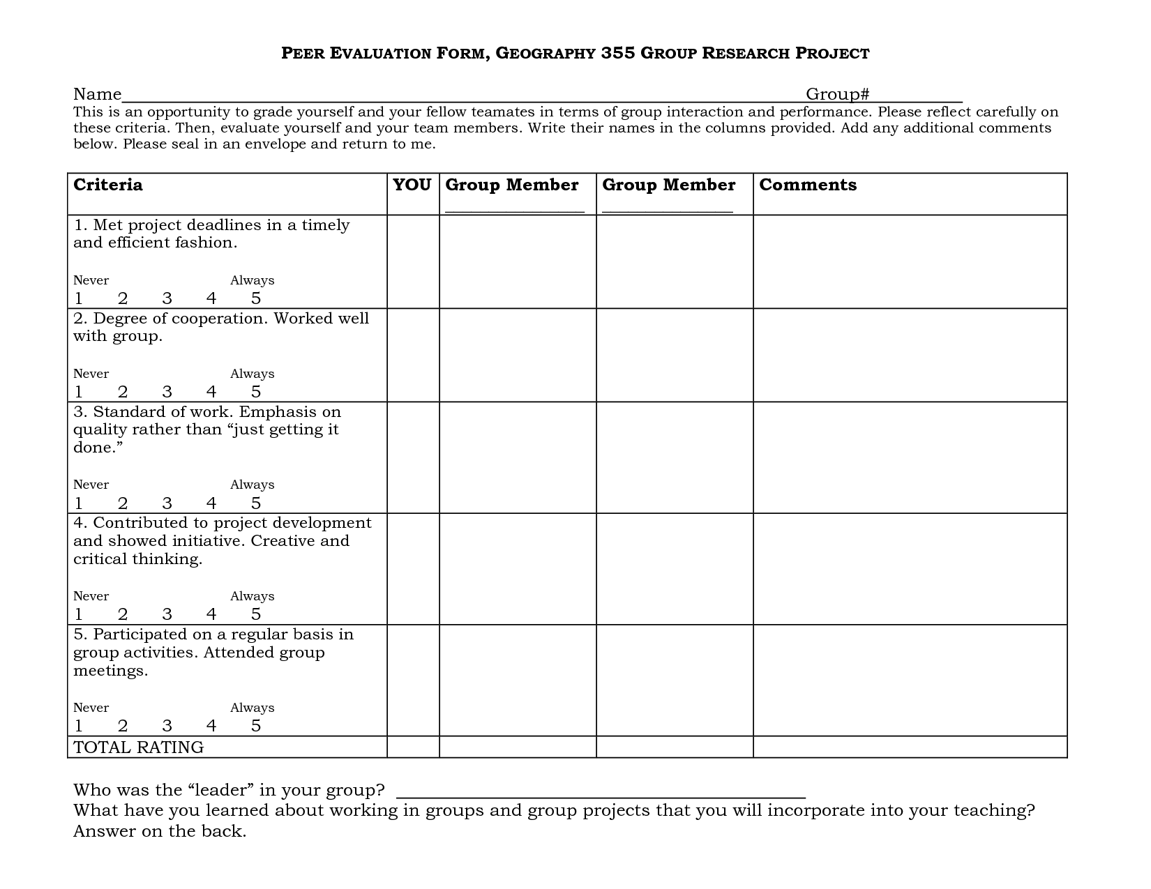 Group Project Peer Evaluation Form