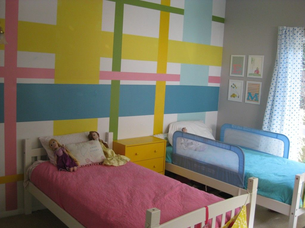 boy + girl = shared room. all done with painters tape and small