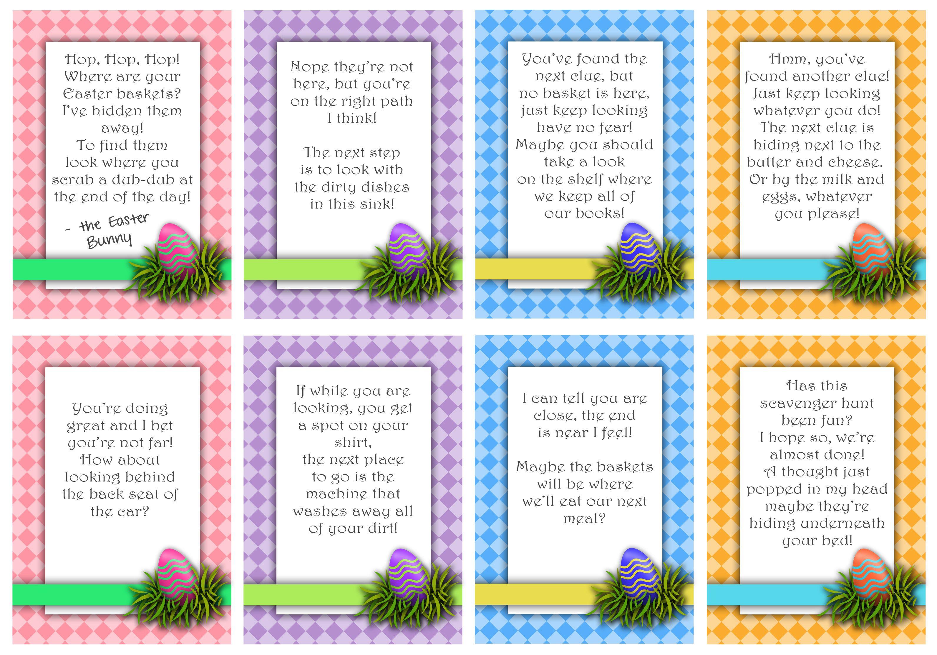 Free Printable Cute Easter Basket Hunt Cards
