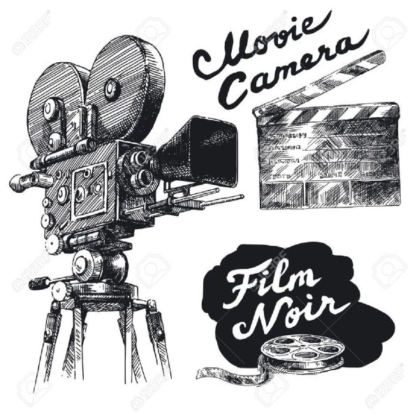 Movie Camera-original Hand Drawn Collection Royalty Free ...