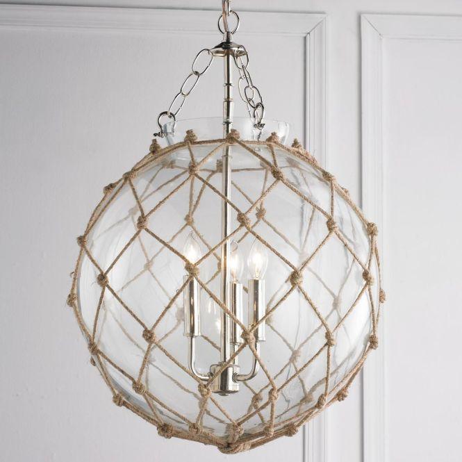 Rope Net Glass Sphere Chandelier