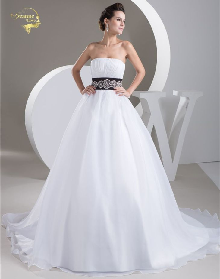 Jeanne Love A Line Wedding Dresses New HOT Organza Black Belt